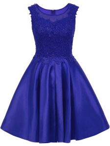 Sexy Scoop Sleeveless Dama Dress for Quinceanera Mini Length Lace Blue Satin