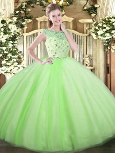 Yellow Green Zipper Bateau Beading Sweet 16 Quinceanera Dress Tulle Sleeveless