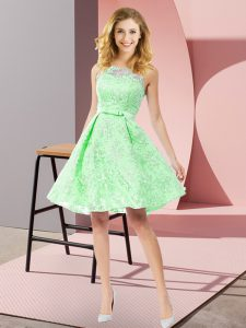 Lace Scoop Sleeveless Zipper Bowknot Bridesmaid Dress in