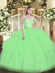Sleeveless Floor Length Beading and Ruffled Layers Lace Up 15 Quinceanera Dress with Apple Green