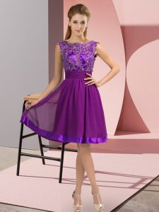 High End Sleeveless Knee Length Appliques Backless Prom Party Dress with Purple