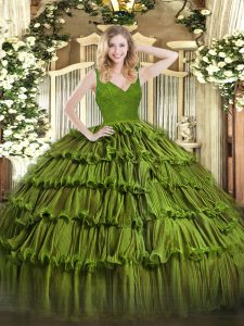 Glittering Olive Green Organza Backless V-neck Sleeveless Floor Length 15th Birthday Dress Beading and Lace and Ruffled Layers