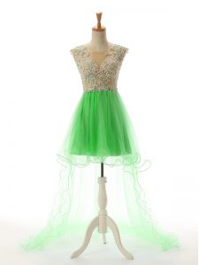 Excellent High Low Green Evening Dress Tulle Sleeveless Appliques