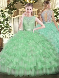 Beauteous Apple Green Sleeveless Beading and Ruffled Layers Floor Length Vestidos de Quinceanera