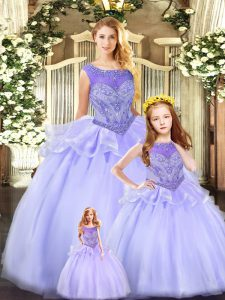 Pretty Sleeveless Floor Length Beading Lace Up Quince Ball Gowns with Lavender
