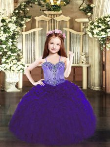 Floor Length Ball Gowns Sleeveless Purple Pageant Dress for Teens Lace Up