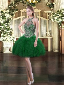 Stylish Halter Top Sleeveless Lace Up Prom Party Dress Dark Green Tulle