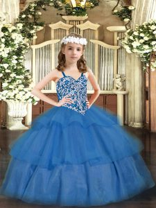 Modern Ball Gowns Pageant Dress Baby Blue Straps Organza Sleeveless Floor Length Lace Up