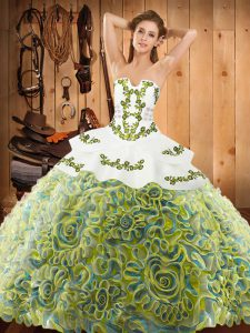 Colorful Sweep Train Ball Gowns 15th Birthday Dress Multi-color Strapless Satin and Fabric With Rolling Flowers Sleeveless With Train Lace Up