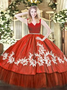 Custom Design Floor Length Ball Gowns Sleeveless Wine Red Quinceanera Dress Zipper