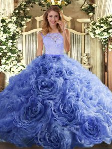 Organza and Fabric With Rolling Flowers Sleeveless Floor Length Quinceanera Gowns and Beading and Lace