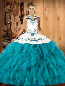 Teal Lace Up 15th Birthday Dress Embroidery and Ruffles Sleeveless Floor Length