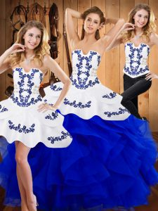 Custom Made Strapless Sleeveless Satin and Organza Quinceanera Gown Embroidery and Ruffles Lace Up