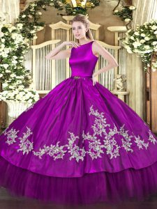 Floor Length Clasp Handle Quinceanera Dresses Fuchsia for Military Ball and Sweet 16 and Quinceanera with Embroidery