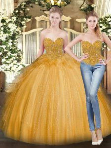 Eye-catching Sleeveless Tulle Floor Length Lace Up Sweet 16 Quinceanera Dress in Gold with Beading and Ruffles