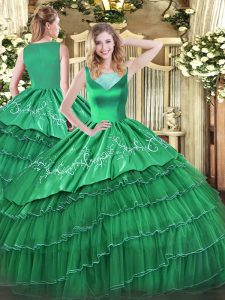 Turquoise 15 Quinceanera Dress Sweet 16 and Quinceanera with Beading and Embroidery and Ruffled Layers Scoop Sleeveless Side Zipper