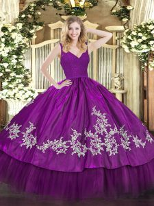 Beading and Appliques Sweet 16 Dresses Fuchsia Zipper Sleeveless Floor Length