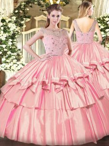 Sleeveless Floor Length Beading and Ruffled Layers Zipper Vestidos de Quinceanera with Rose Pink