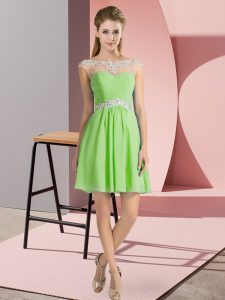 Superior Chiffon Cap Sleeves Mini Length Prom Party Dress and Beading