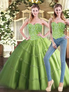 Luxurious Ball Gowns Quinceanera Dresses Olive Green Sweetheart Tulle Sleeveless Floor Length Lace Up