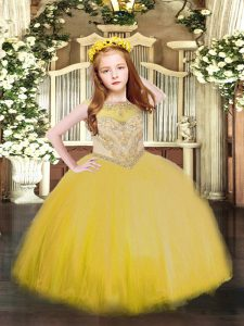 Sleeveless Beading Zipper Pageant Gowns