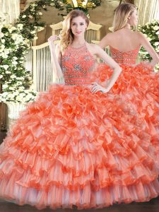 Orange Halter Top Neckline Beading and Ruffled Layers Quinceanera Dresses Sleeveless Zipper