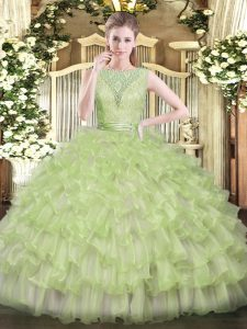 Customized Sleeveless Backless Floor Length Beading and Ruffled Layers Quinceanera Gown
