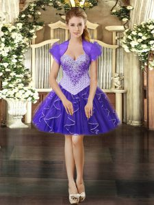 Chic Purple Sweetheart Neckline Beading and Ruffles Prom Party Dress Sleeveless Lace Up