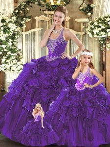 Dynamic Straps Sleeveless Sweet 16 Quinceanera Dress Floor Length Beading and Ruffles Purple Organza