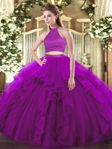 Halter Top Sleeveless Backless Quinceanera Gowns Purple Tulle