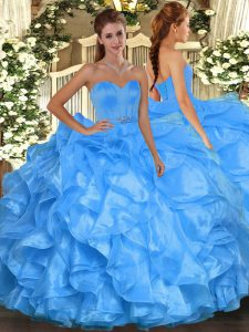 Floor Length Ball Gowns Sleeveless Baby Blue Sweet 16 Quinceanera Dress Lace Up