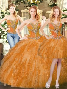 Great Orange Red Lace Up Sweetheart Beading and Ruffles Quinceanera Gowns Organza Sleeveless