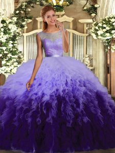 Low Price Multi-color Tulle Backless Quinceanera Gown Sleeveless Floor Length Beading and Ruffles