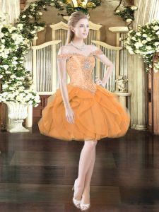 Smart Sleeveless Tulle Mini Length Lace Up in Orange Red with Beading and Ruffles