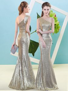 Great Champagne Sequined Zipper One Shoulder Sleeveless Floor Length Dress for Prom Sequins