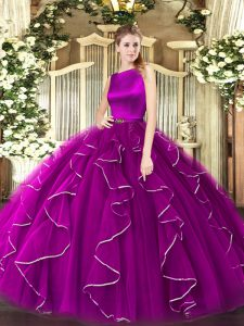 Glittering Ruffles Sweet 16 Quinceanera Dress Fuchsia Clasp Handle Sleeveless Floor Length