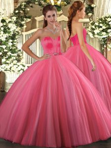 Luxurious Sweetheart Sleeveless Tulle Quinceanera Gowns Beading Lace Up