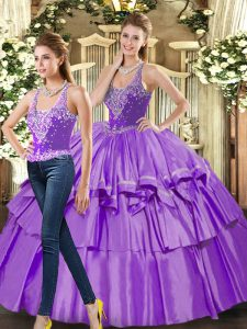 Most Popular Eggplant Purple Sleeveless Floor Length Ruffled Layers Lace Up Ball Gown Prom Dress