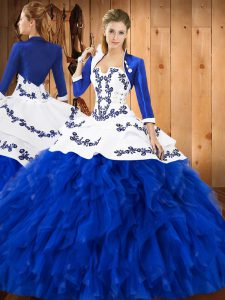 Admirable Sleeveless Lace Up Floor Length Embroidery and Ruffles Quince Ball Gowns