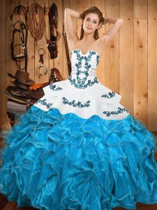 Hot Selling Sleeveless Floor Length Embroidery and Ruffles Lace Up Sweet 16 Dress with Teal