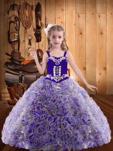 New Style Fabric With Rolling Flowers Straps Sleeveless Lace Up Embroidery and Ruffles Pageant Dress for Womens in Multi-color