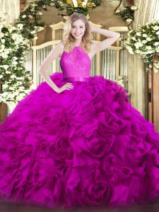 Sophisticated Fuchsia Scoop Neckline Lace 15 Quinceanera Dress Sleeveless Zipper