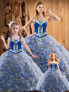 Glorious Multi-color Sweetheart Lace Up Embroidery Quinceanera Gowns Sweep Train Sleeveless