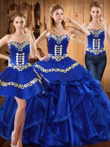 Custom Fit Royal Blue Quinceanera Dresses Military Ball and Sweet 16 and Quinceanera with Embroidery and Ruffles Sweetheart Sleeveless Lace Up