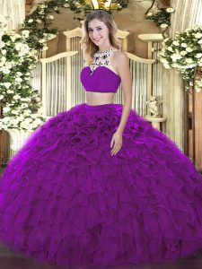 Traditional Purple Backless Halter Top Beading and Ruffles Sweet 16 Quinceanera Dress Tulle Sleeveless