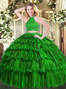 Extravagant Sleeveless Beading and Ruffled Layers Backless Ball Gown Prom Dress