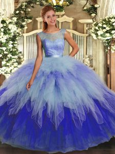 Exceptional Organza Scoop Sleeveless Backless Beading and Ruffles Vestidos de Quinceanera in Multi-color