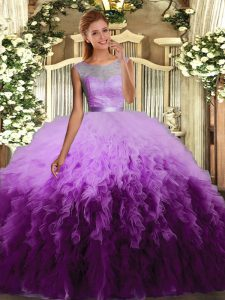 Stunning Ball Gowns Quinceanera Dress Multi-color Scoop Organza Sleeveless Floor Length Backless