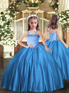 Best Appliques Pageant Dress for Teens Baby Blue Lace Up Sleeveless Floor Length