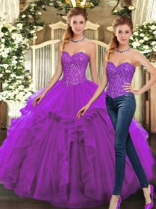 Sophisticated Purple Sweet 16 Dresses Military Ball and Sweet 16 and Quinceanera with Beading and Ruffles Sweetheart Sleeveless Lace Up